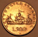 ITALY 500 LIRE ARGENTO 1958 - CARAVELLE, Europa, Argint