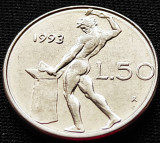 Moneda 50 LIRE - ITALIA, anul 1993 *cod 893 = modelul mic, Europa