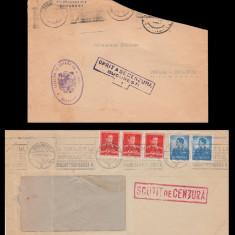 1941-1943 Romania - 2 Plicuri cu stampile SCUTIT DE CENZURA, Martha Bibescu