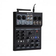 Auna Blackbird, mixer cu 6 canale, BT, USB, MP3, 2 x XLR-Micro, negru