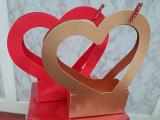 Cutii aranjamente trandafiri de săpun, model inima  17/7 cm h8 /H30 cm