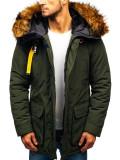 Geacă de iarnă pentru bărbat verde Bolf 99126