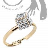 Cumpara ieftin Inel auriu pentru mână sau picior, cub încrustat cu zirconiu transparent - Marime inel: 51