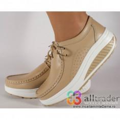 Pantofi bej piele naturala talpa convexa dama/dame/femei (cod AC020-43)