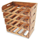 vidaXL Suporturi sticle de vin, 4 buc, 16 sticle, lemn masiv reciclat