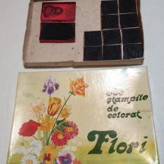 Jucarie comunista de colectie JOC VECHI ROMANESC STAMPILE DE COLORAT- FLORI 1977