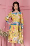 Rochie Moze galben mustar clos cu dungi si imprimeu floral