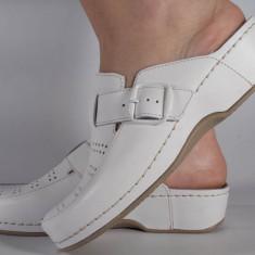 Saboti/Papuci MUBB albi din piele naturala (cod 250), 35, 36, 41, 42