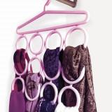 Umeras din plastic, Shopiens, pentru esarfe cu 12 locuri, roz