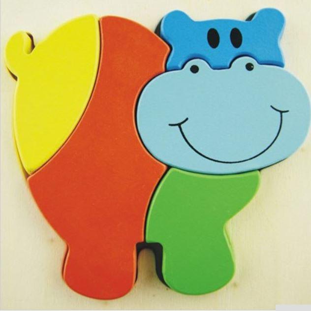 Joc puzzle 3D lemn Hipopotam
