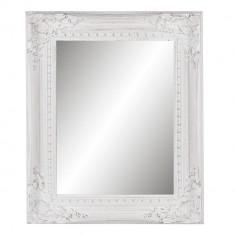 Oglinda decorativa perete lemn alb vintage 44x4x54 cm
