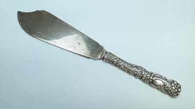 M Cutit vechi de prajitura, tort, ornamentat placat cu argint argintat prajituri foto