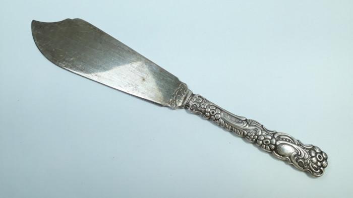 M Cutit vechi de prajitura, tort, ornamentat placat cu argint argintat prajituri