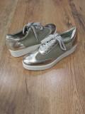 LICHIDARE STOC! Pantofi dama superbi piele naturala comozi si usori 39, Auriu, Cu platforma