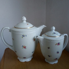 Lot de ceainic si cafetiera portelan vechi, model floral