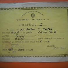 HOPCT DIPLOMA PREMIUL I SCOLAR-1967-1968 NR 87 RSR MINISTERUL INVATAMINTULUI