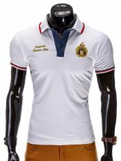 Tricou pentru barbati polo, alb, logo piept, slim fit, casual - S505 foto