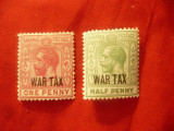 2 Timbre Bahamas 1918 Rege George V supratipar war tax tip2 , 1/2 si1p , sarn., Nestampilat