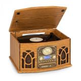 Auna NR-620, DAB, sistem stereo, lemn, gramofon, DAB+, CD player, maro