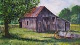 Acuarela peisaj cu hambar si caruta - pictura picturi tablou tablouri, Peisaje, Realism