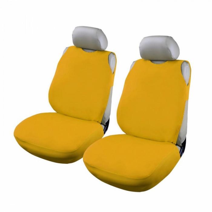 Huse scaun auto RoGroup tip maiou, 2 piese, bumbac, galben