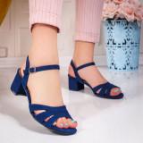 Sandale dama cu toc gros textil albastre Zibby -rl
