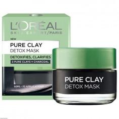 Masca revitalizanta pentru iluminarea tenului cu extract de carbune L Oreal Paris Pure Clay Detox Mask 50 ml