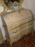 Secretaire/birou/comoda vintage/antic baroc venetian/rococo,lemn masiv,pictat, Birouri si secretari, 1900 - 1949