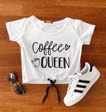 Tricou dama ieftin din bumbac alb cu snur cu imprimeu Coffee Queen
