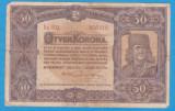 (6) BANCNOTA UNGARIA - 50 KORONA 1920 (1 IANUARIE1920) SERIA 5a002/808418