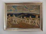 Peisaj cu snopi de grâu, în ulei, de A. Kreipl (1953)