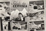 Italia - Cervenia 2050 m ,Sport , Schi , Schior , femeie, Necirculata, Printata