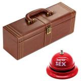 Pachet geanta tip cufar pentru vin, model Vintage cu maner si accesorii incluse...