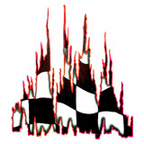 Autocolant Burning flag 1buc 67x49cm - Rosu Garage AutoRide