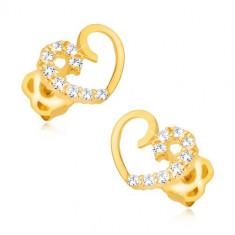 Cercei din aur de 14K - formă de inimă, jumatate cu diamante