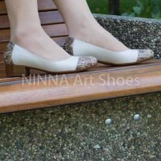 Pantofi dama din piele Ninna Art 235 crem, 35 - 41, Bej, Cu talpa joasa