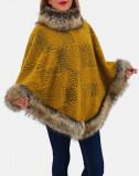 Cumpara ieftin Poncho din lana cu blana 3