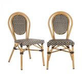 Cumpara ieftin Blumfeldt Montpellier BL, scaun din aluminiu, stivuibil,din sticlă, negru-crem