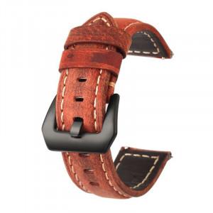 Curea piele naturala, compatibila Samsung Galaxy Watch 46mm, telescoape Quick Release, 22mm, Maro Aprins