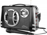 Boxa Portabila Media-Tech Karaoke Boombox BT, Radio FM, MP3 Player, 20W RMS, cu Subwoofer si Difuzoare Stereo, Incinta Lemn, USB + SD, Telecomanda, A