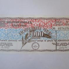 Cumpara ieftin Bosnia si Hertegovina(Republica Srpska-Banja Luka) 1000 Dinara 1992 cec militar