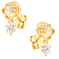 Cercei din aur galben de 14K, trandafiri cu zirconii transparente