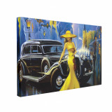 Cumpara ieftin Tablou Canvas Car and Girl Old City, CanvasGift