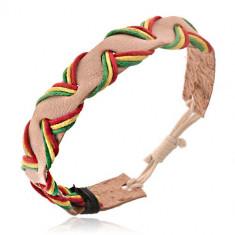 Brăţară din piele bej - şnururi în trei culori
