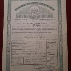 Polita de asigurare 1950 - Sovrom - Agricola - Incendiu si traznet