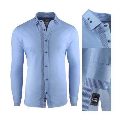 Camasa pentru barbati, super slim fit, elastica, casual, cu guler - blackrock-firenze foto