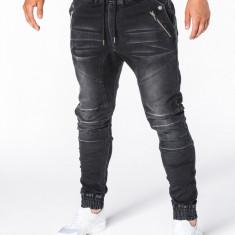 Blugi pentru barbati negri cu siret elastici slim fit cu buzunare decorative P404