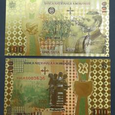 A1908 100 lei 2018 CENTENAR Fantezie Aurita Aur Gold 24K