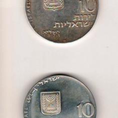 SV * ISRAEL LOT  2 x  10 LIROT 1971 * ARGINT .900  *  LET MY PEOPLE GO     AUNC+