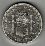 SPANIA 5 PESETAS 1871 1875 SD M ARGINT STARE FOARTE BUNA